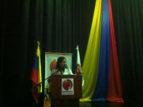Johanna Pérez Daza durante reflexiona sobre los DDHH y el rol de los comunicacores